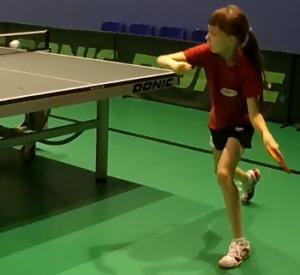 Ульяна Седлова на тренировке (настольный теннис)