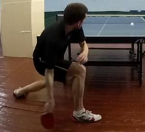 Топ-спин справа с подрезки в настольном теннисе